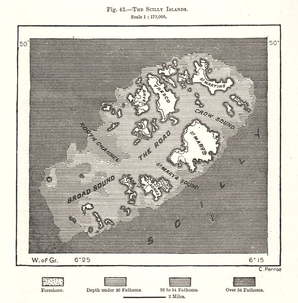 Associate Product The Scilly Islands. Cornwall. Sketch map 1885 old antique plan chart
