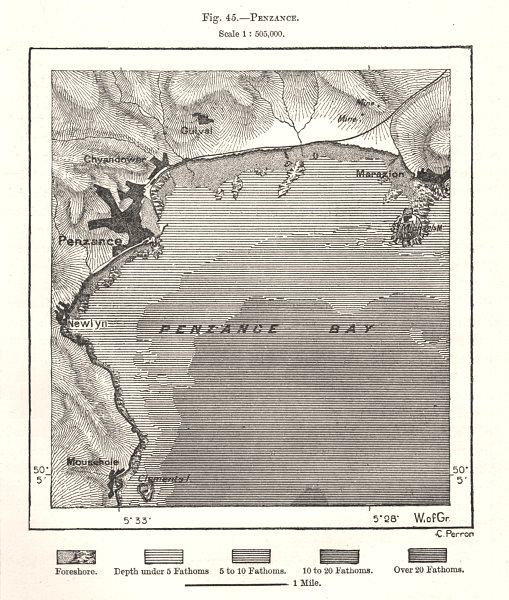 Associate Product Penzance Bay. Marazion. Cornwall. Sketch map 1885 old antique plan chart