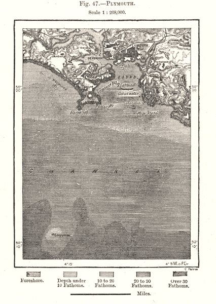 Associate Product Plymouth Sound. Devon. Eddystone. Sketch map 1885 old antique plan chart