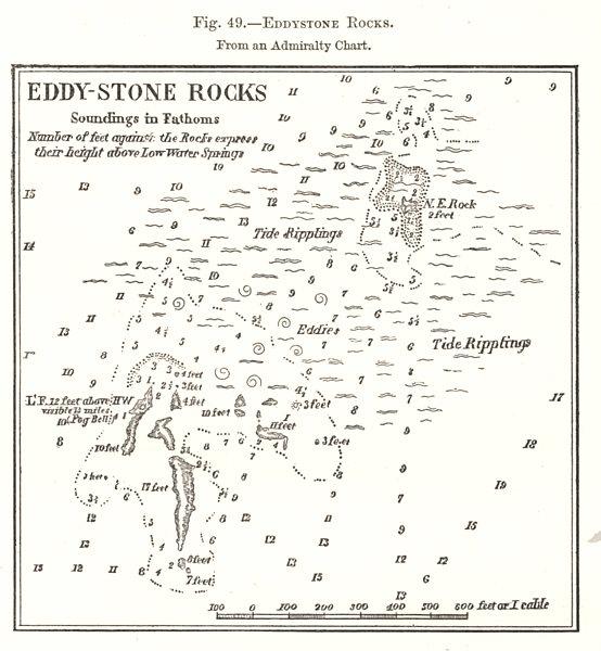 Associate Product Eddystone Rocks. Devon. Sketch map 1885 old antique vintage plan chart