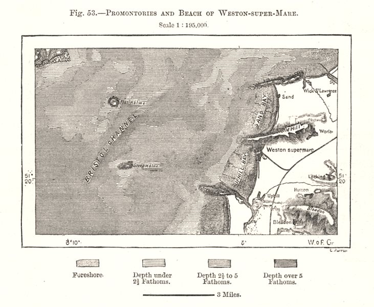 Associate Product Promontories & beach of Weston-super-Mare. Somerset. Sketch map 1885 old