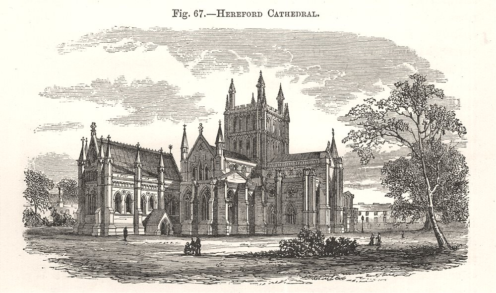 Associate Product Hereford Cathedral. Herefordshire 1885 old antique vintage print picture