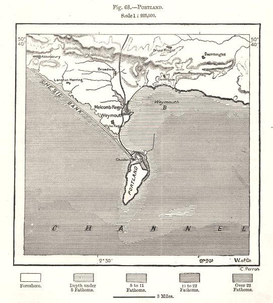 Portland. Chesil beach. Weymouth Melcombe Regis. Dorset. Sketch map 1885