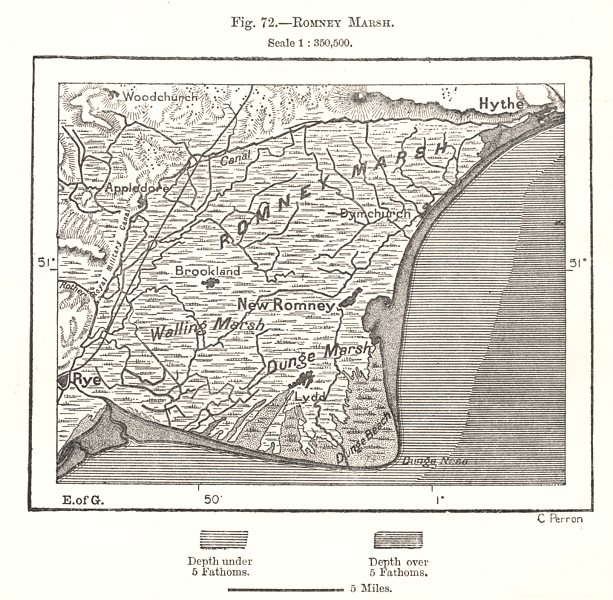 Romney Marsh. Kent Sussex Rye Hythe. Sketch map 1885 old antique chart