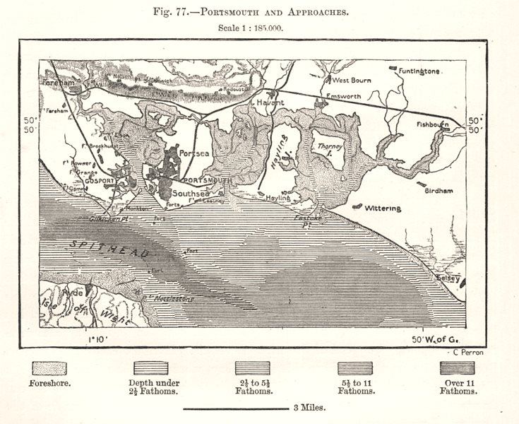 Associate Product Portsmouth and approaches. Hampshire. Sketch map 1885 old antique chart