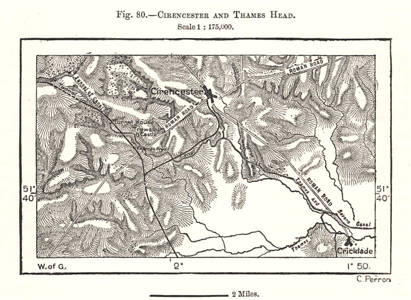 Associate Product Cirencester and Thames Head. Cricklade. Gloucestershire. Sketch map 1885