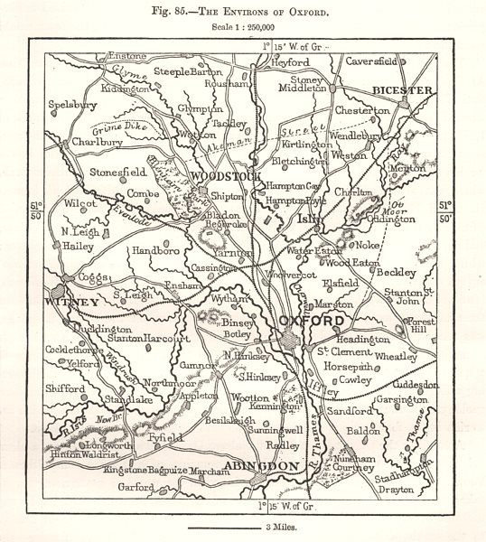 The Environs of Oxford. Woodstock Abingdon Bicester Witney. Sketch map 1885
