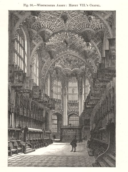 Associate Product Westminster Abbey: Henry VII's Chapel. London 1885 old antique print picture