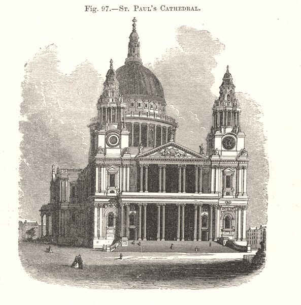 Associate Product St Paul's Cathedral. London 1885 old antique vintage print picture
