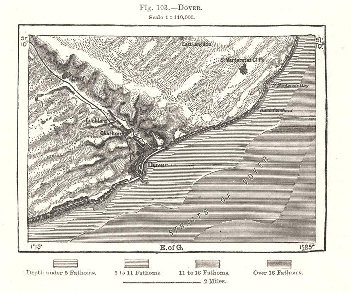 Associate Product Dover. Kent. Sketch map 1885 old antique vintage plan chart