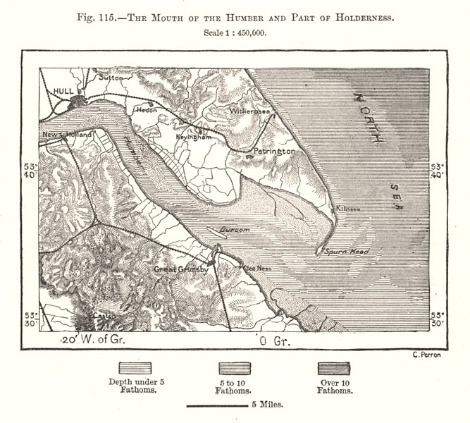 Associate Product Humber Estuary & Holderness. Hull Grimsby. Lincolnshire. Sketch map 1885