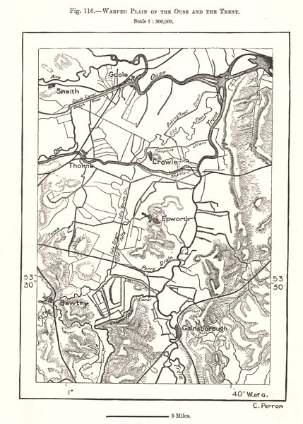 Associate Product Warped Ouse & Trent plain. Gainsborough. Lincolnshire. Sketch map 1885 old