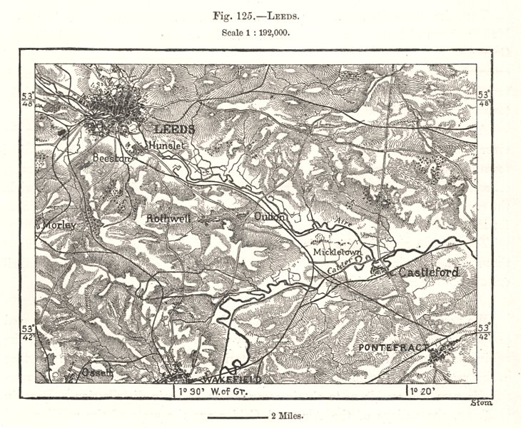 Associate Product Leeds & environs. Castleford Pontefract. Yorkshire. Sketch map 1885 old