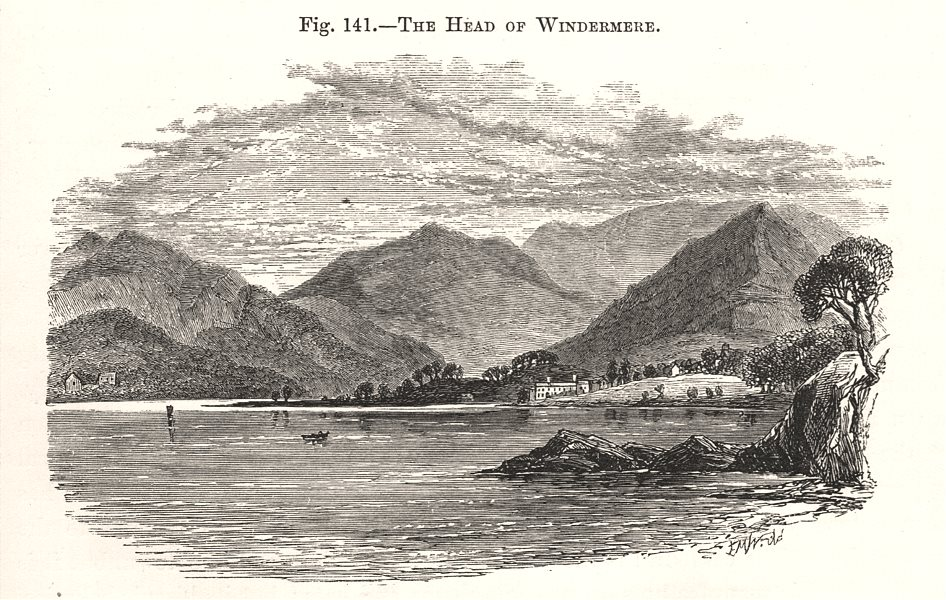 Associate Product The Head of Windermere. Cumbria 1885 old antique vintage print picture