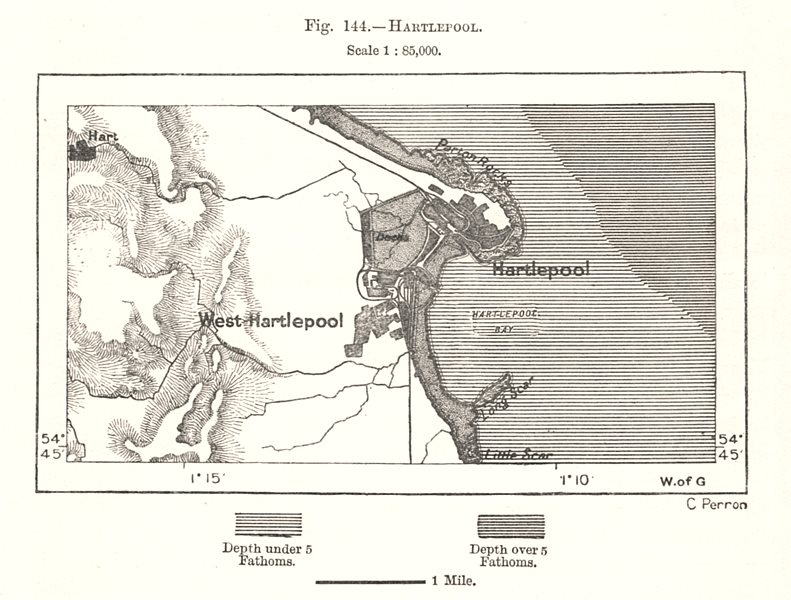 Associate Product Hartlepool town plan. Durham. Sketch map 1885 old antique chart