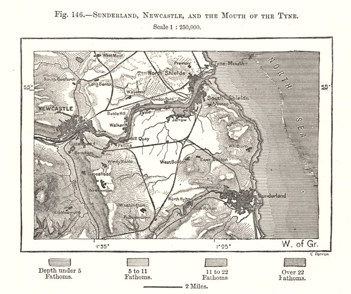 Associate Product Sunderland, Newcastle & the Mouth of the Tyne. Northumberland. Sketch map 1885