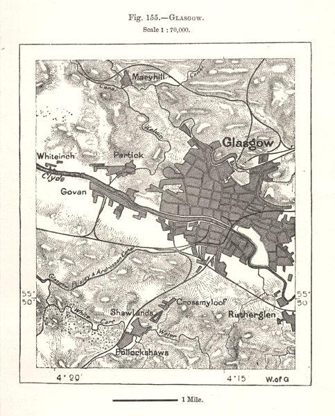 Glasgow town city plan. Scotland. Sketch map 1885 old antique chart