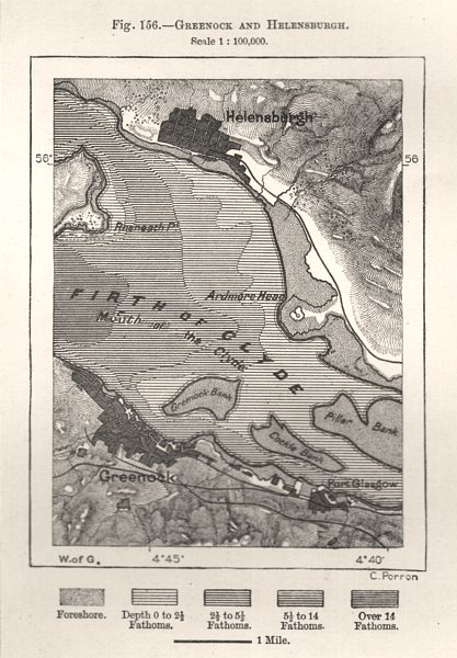 Associate Product Greenock and Helensburgh. Firth of Clyde. Scotland. Sketch map 1885 old