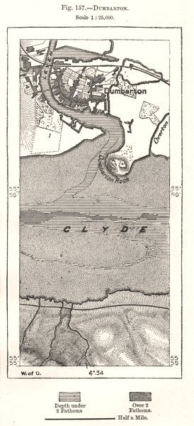 Associate Product Dumbarton town plan. Scotland. Sketch map 1885 old antique chart