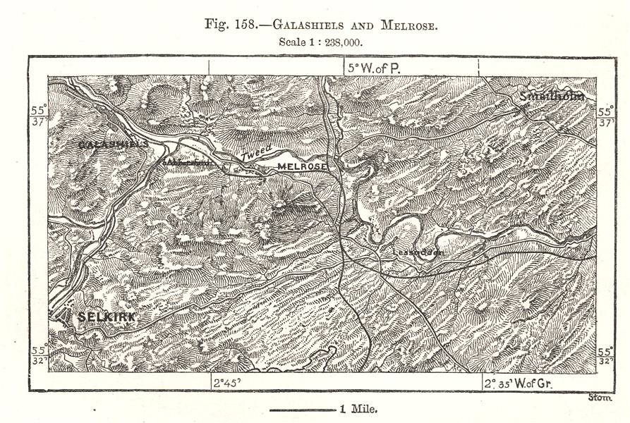 Associate Product Galashiels and Melrose. Selkirk. Scotland. Sketch map 1885 old antique