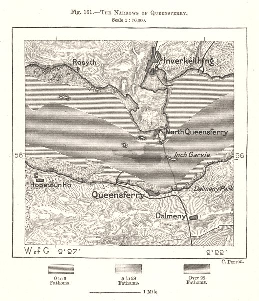Associate Product The Narrows of Queensferry. Inverkeithing. Scotland. Sketch map 1885 old