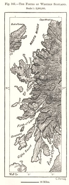 Associate Product The Firths of Western Scotland. Sketch map 1885 old antique plan chart
