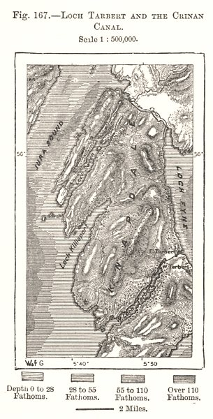 Associate Product Loch Tarbert & the Crinan Canal. Knapdale. Scotland. Sketch map 1885 old