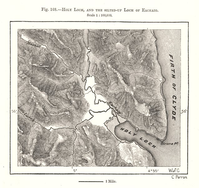 Associate Product Holy Loch, and the silted-up Loch of Eachaig. Scotland. Sketch map 1885