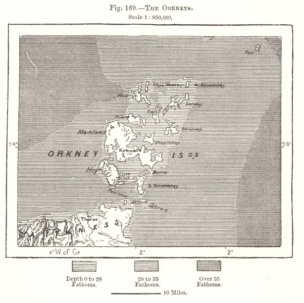 Associate Product The Orkney Islands. Scotland. Sketch map 1885 old antique plan chart