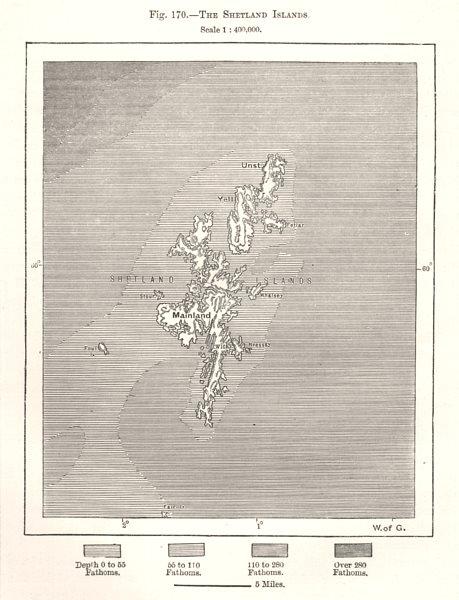 Associate Product The Shetland Islands. Scotland. Sketch map 1885 old antique plan chart