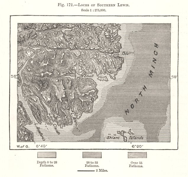 Associate Product Lochs of Southern Lewis. Scotland. Sketch map 1885 old antique plan chart