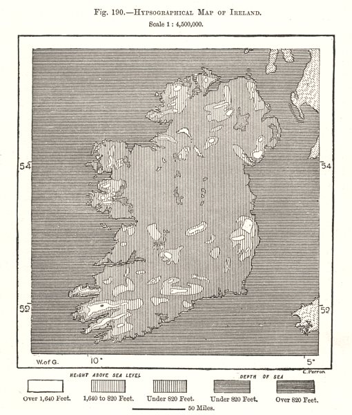 Associate Product Hypsographical Map of Ireland. Sketch map 1885 old antique plan chart