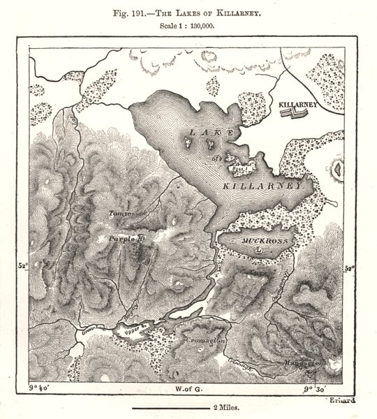 Associate Product The Lakes of Killarney. Ireland. Sketch map 1885 old antique plan chart