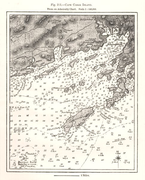 Associate Product Cape Clear Island from an Admiralty Chart. Soundings. Ireland. Sketch map 1885