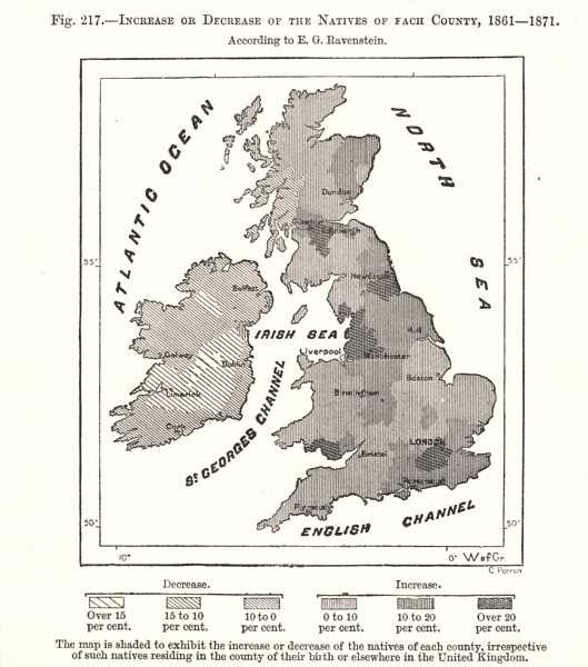 Associate Product Population change by county 1861-71. Ravenstein. British Isles. Sketch map 1885