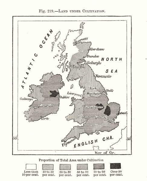 Associate Product Land Under Cultivation. British Isles. Sketch map 1885 old antique chart