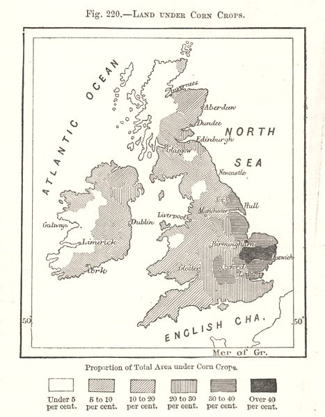 Associate Product Land Under Corn Crops. British Isles. Sketch map 1885 old antique chart