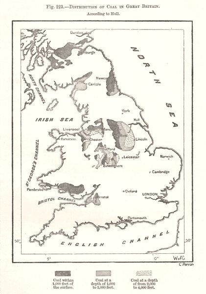 Associate Product Coalfields in Great Britain per Hull. Sketch map 1885 old antique chart