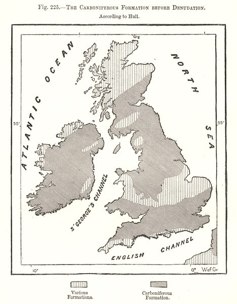 Associate Product Carboniferous formation pre denudation per Hull. British Isles. Sketch map 1885