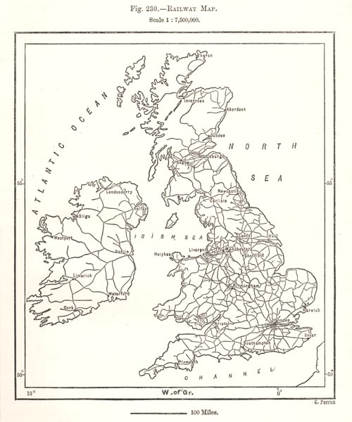 Associate Product Railway Map. British Isles. Sketch map 1885 old antique vintage plan chart