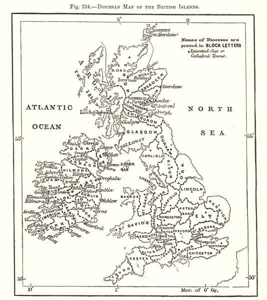 Associate Product Diocesan Map of the British Isles. Sketch map 1885 old antique plan chart