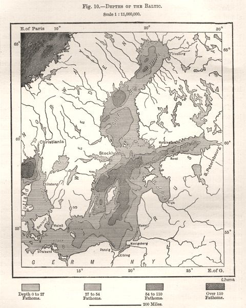 Associate Product Depths of the Baltic. Europe. Sketch map 1885 old antique plan chart
