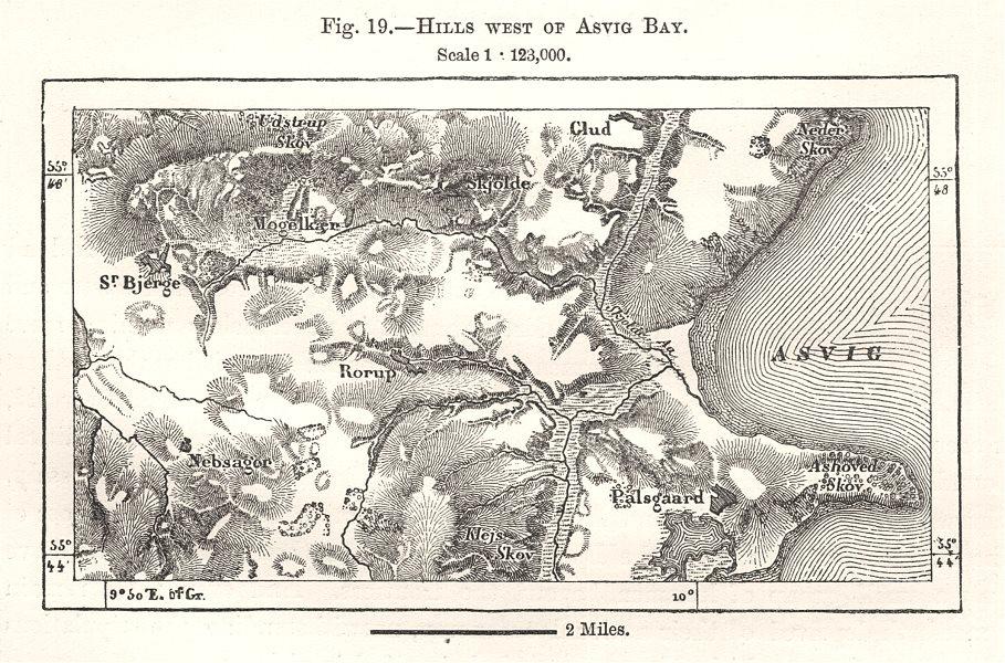 Associate Product Hills West of As Vig Bay. Bjerre. Denmark. Sketch map 1885 old antique