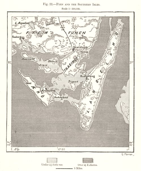 Associate Product Fyn and the Southern Isles. Aero Langelend. Denmark. Sketch map 1885 old