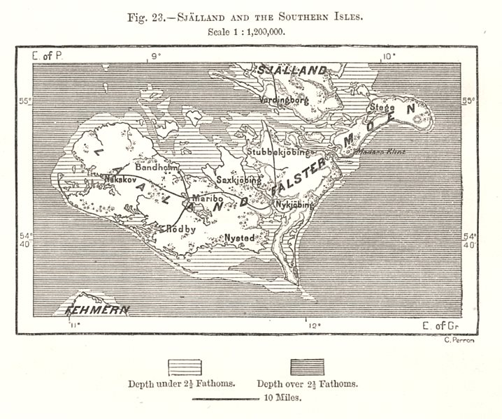 Associate Product Sjaelland & the Southern Isles. Falster Lolland. Denmark. Sketch map 1885