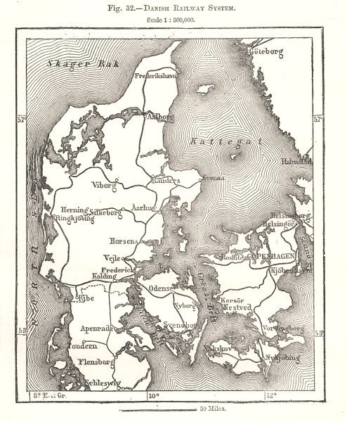 Associate Product Danish Railway System. Denmark. Sketch map 1885 old antique plan chart