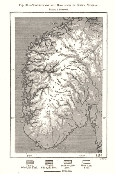 Associate Product Table-lands and Highlands of South Norway. Sketch map 1885 old antique