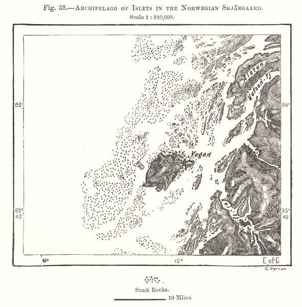 Norwegian Skjaergaard archipelago of islets. Vegen. Norway. Sketch map 1885