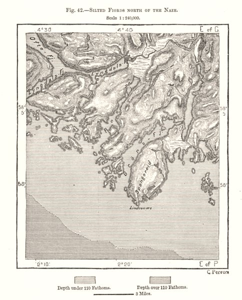Associate Product Silted Fiords North of the Naze. Norway. Sketch map 1885 old antique chart