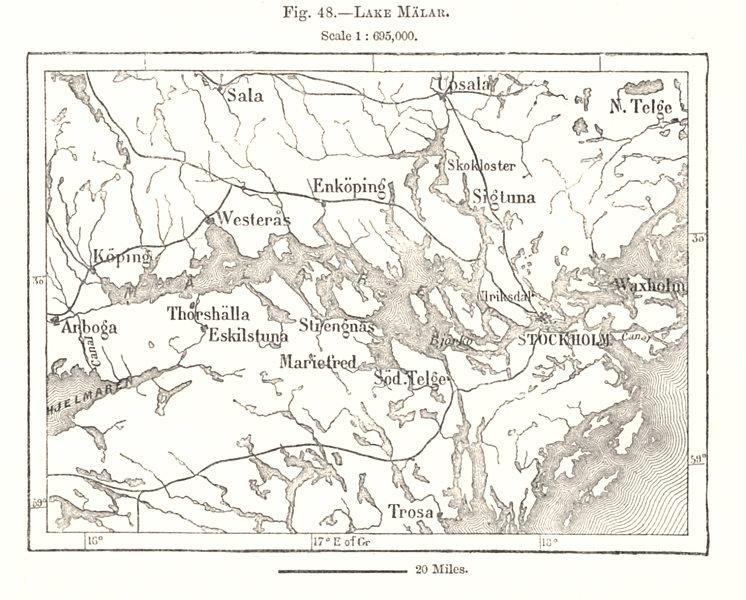 Associate Product Lake Malar. Mälaren. Malaren. Stockholm. Sweden. Sketch map 1885 old